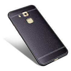 Huawei G9 Plus用シリコンケース ソフトタッチラバー レザー柄 ファーウェイ ブラック