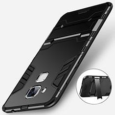 Huawei G9 Plus用ハイブリットバンパーケース スタンド プラスチック 兼シリコーン ファーウェイ ブラック