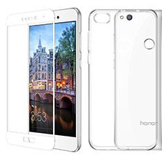 Huawei GR3 (2017)用極薄ソフトケース シリコンケース 耐衝撃 全面保護 クリア透明 アンド液晶保護フィルム ファーウェイ ホワイト