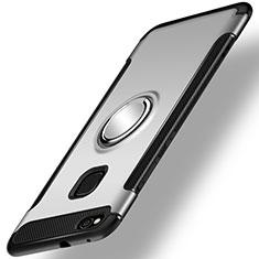 Huawei GR3 (2017)用ハイブリットバンパーケース プラスチック アンド指輪 兼シリコーン カバー ファーウェイ シルバー