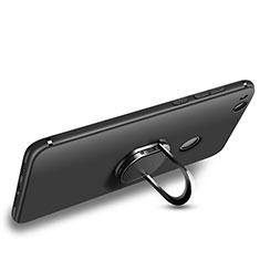 Huawei GR3 (2017)用極薄ソフトケース シリコンケース 耐衝撃 全面保護 アンド指輪 ファーウェイ ブラック