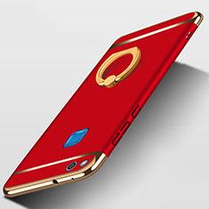 Huawei GR3 (2017)用ケース 高級感 手触り良い メタル兼プラスチック バンパー アンド指輪 ファーウェイ レッド
