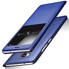 Huawei GX8用手帳型 レザーケース スタンド L01 ファーウェイ ネイビー