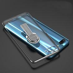 Huawei Honor 10用極薄ソフトケース シリコンケース 耐衝撃 全面保護 クリア透明 アンド指輪 ファーウェイ グレー