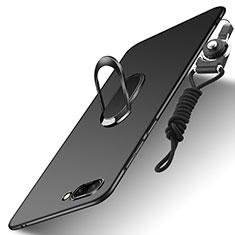 Huawei Honor 10用ハードケース プラスチック 質感もマット アンド指輪 亦 ひも ファーウェイ ブラック