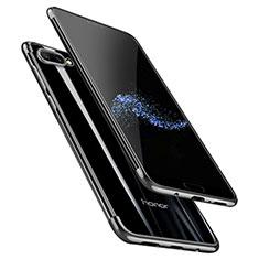 Huawei Honor 10用極薄ソフトケース シリコンケース 耐衝撃 全面保護 クリア透明 T06 ファーウェイ ブラック