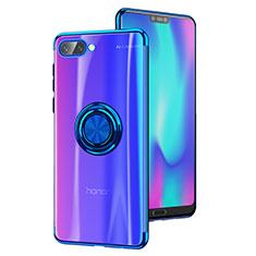 Huawei Honor 10用極薄ソフトケース シリコンケース 耐衝撃 全面保護 クリア透明 アンド指輪 S01 ファーウェイ ネイビー
