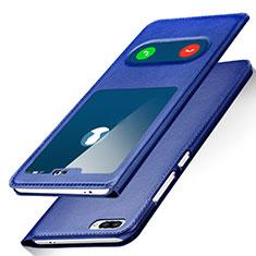Huawei Honor 10用手帳型 レザーケース スタンド ファーウェイ ネイビー