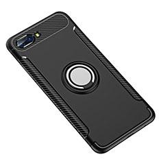Huawei Honor 10用ハイブリットバンパーケース プラスチック アンド指輪 兼シリコーン カバー ファーウェイ ブラック