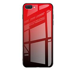 Huawei Honor 10用ハイブリットバンパーケース プラスチック 鏡面 虹 グラデーション 勾配色 カバー ファーウェイ レッド