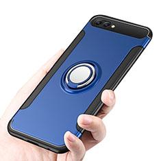 Huawei Honor 10用ハイブリットバンパーケース プラスチック アンド指輪 兼シリコーン ファーウェイ ネイビー