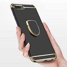 Huawei Honor 10用ケース 高級感 手触り良い メタル兼プラスチック バンパー アンド指輪 ファーウェイ ブラック