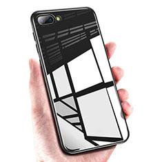 Huawei Honor 10用シリコンケース ソフトタッチラバー 鏡面 M01 ファーウェイ ブラック