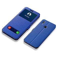 Huawei Honor 10 Lite用手帳型 レザーケース スタンド カバー L01 ファーウェイ ネイビー