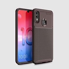 Huawei Honor 10 Lite用シリコンケース ソフトタッチラバー ツイル カバー ファーウェイ ブラウン