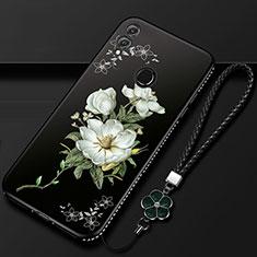 Huawei Honor 10 Lite用シリコンケース ソフトタッチラバー 花 カバー S01 ファーウェイ ブラック