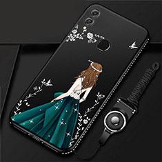 Huawei Honor 10 Lite用シリコンケース ソフトタッチラバー バタフライ ドレスガール ドレス少女 カバー ファーウェイ ブラック