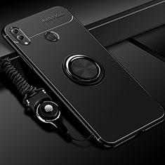 Huawei Honor 10 Lite用極薄ソフトケース シリコンケース 耐衝撃 全面保護 アンド指輪 マグネット式 バンパー ファーウェイ ブラック