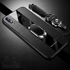 Huawei Honor 10 Lite用シリコンケース ソフトタッチラバー レザー柄 ファーウェイ ブラック