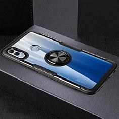 Huawei Honor 10 Lite用360度 フルカバーハイブリットバンパーケース クリア透明 プラスチック 鏡面 アンド指輪 マグネット式 ファーウェイ ブラック