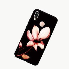 Huawei Honor 10 Lite用ハイブリットバンパーケース プラスチック パターン 鏡面 カバー S01 ファーウェイ ブラック