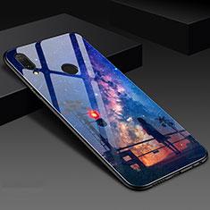 Huawei Honor 10 Lite用ハイブリットバンパーケース プラスチック パターン 鏡面 カバー S02 ファーウェイ ネイビー