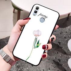 Huawei Honor 10 Lite用ハイブリットバンパーケース プラスチック 鏡面 花 カバー ファーウェイ ホワイト
