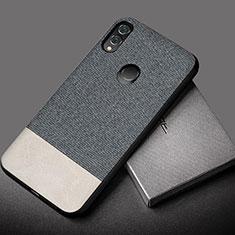 Huawei Honor 10 Lite用シリコンケース ソフトタッチラバー レザー柄 S01 ファーウェイ グレー