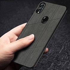 Huawei Honor 10 Lite用シリコンケース ソフトタッチラバー ライン カバー ファーウェイ ブラック