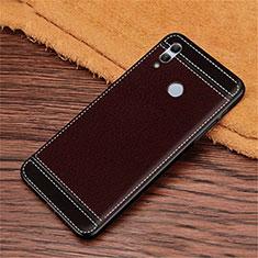 Huawei Honor 10 Lite用シリコンケース ソフトタッチラバー レザー柄 S02 ファーウェイ ブラウン