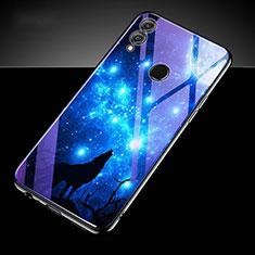 Huawei Honor 10 Lite用ハイブリットバンパーケース プラスチック パターン 鏡面 カバー S04 ファーウェイ ネイビー