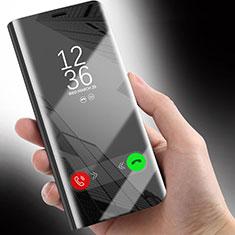Huawei Honor 10 Lite用手帳型 レザーケース スタンド 鏡面 カバー ファーウェイ ブラック