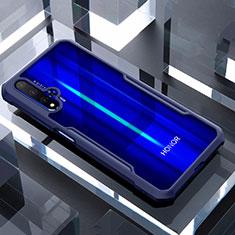Huawei Honor 20用ハイブリットバンパーケース クリア透明 プラスチック 鏡面 カバー ファーウェイ ネイビー