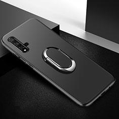 Huawei Honor 20用極薄ソフトケース シリコンケース 耐衝撃 全面保護 アンド指輪 マグネット式 バンパー ファーウェイ ブラック