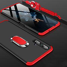 Huawei Honor 20用ハードケース プラスチック 質感もマット 前面と背面 360度 フルカバー アンド指輪 ファーウェイ レッド・ブラック