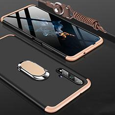 Huawei Honor 20用ハードケース プラスチック 質感もマット 前面と背面 360度 フルカバー アンド指輪 ファーウェイ ゴールド・ブラック