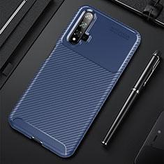 Huawei Honor 20用シリコンケース ソフトタッチラバー ツイル カバー ファーウェイ ネイビー