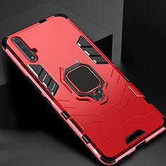 Huawei Honor 20用ハイブリットバンパーケース スタンド プラスチック 兼シリコーン カバー マグネット式 ファーウェイ レッド