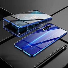 Huawei Honor 20用ケース 高級感 手触り良い アルミメタル 製の金属製 360度 フルカバーバンパー 鏡面 カバー M01 ファーウェイ ネイビー