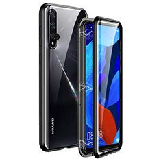 Huawei Honor 20用ケース 高級感 手触り良い アルミメタル 製の金属製 360度 フルカバーバンパー 鏡面 カバー T11 ファーウェイ ブラック