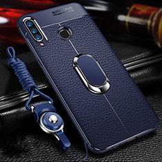 Huawei Honor 20 Lite用シリコンケース ソフトタッチラバー レザー柄 アンド指輪 マグネット式 T01 ファーウェイ ネイビー
