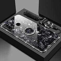 Huawei Honor 20 Lite用ハイブリットバンパーケース プラスチック 鏡面 カバー アンド指輪 マグネット式 T01 ファーウェイ ブラック