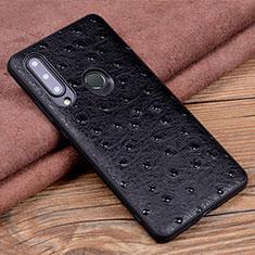 Huawei Honor 20 Lite用ケース 高級感 手触り良いレザー柄 R02 ファーウェイ ブラック