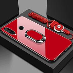 Huawei Honor 20 Lite用ハイブリットバンパーケース プラスチック 鏡面 カバー アンド指輪 マグネット式 T02 ファーウェイ レッド
