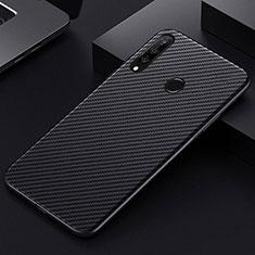 Huawei Honor 20 Lite用炭素繊維ケース ソフトタッチラバー ツイル カバー T01 ファーウェイ ブラック