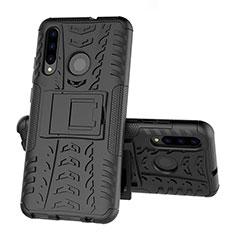 Huawei Honor 20 Lite用ハイブリットバンパーケース スタンド プラスチック 兼シリコーン カバー R03 ファーウェイ ブラック