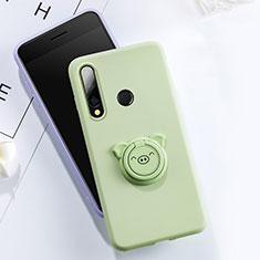 Huawei Honor 20 Lite用極薄ソフトケース シリコンケース 耐衝撃 全面保護 アンド指輪 マグネット式 バンパー T02 ファーウェイ グリーン