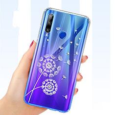 Huawei Honor 20 Lite用極薄ソフトケース シリコンケース 耐衝撃 全面保護 クリア透明 花 T03 ファーウェイ ネイビー