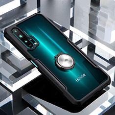 Huawei Honor 20 Pro用360度 フルカバーハイブリットバンパーケース クリア透明 プラスチック 鏡面 アンド指輪 マグネット式 ファーウェイ ブラック