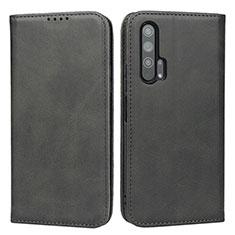 Huawei Honor 20 Pro用手帳型 レザーケース スタンド カバー ファーウェイ ブラック
